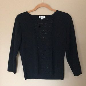 Tops - Black long sleeved shirt with beads.